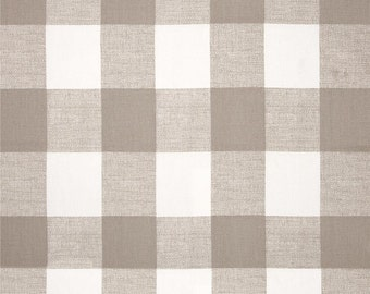 """Ecru and White CHECK CURTAINS, Tan Check Curtains,Large Check Curtains, Buffalo Check, Two Panels,24"""" Wide,52"""" Wide,Valance"""