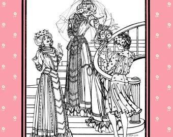 Folkwear Edwardian Bridal Wedding Gown & Afternoon Dress sizes 6-16 Sewing Pattern # 227