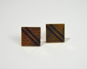 Vintage 1960s Gold Tone Cuff Links w/Zig Zag Design by Swank