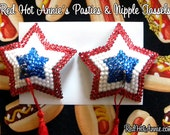 Patriotic USA American Independence Day Stars Rhinestone Burlesque Pasties - Red, White & Blue
