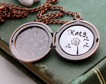 Name Necklace, Personalized Name Necklace, Name Locket Necklace, Dandelion necklace, Personalized Jewelry, Wish Necklace, Gift for Daughter