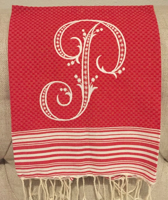 Monogrammed Red and White Turkish Guest Towel