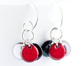 Dangle Dot Disc Earrings in Black Red White Enamel, Flirty Earrings, Drop Earrings, Red and Black Jewelry