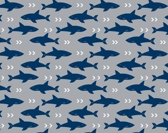 Fitted crib sheet with Shark print.