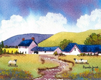 Original Watercolour, Painting, Welsh Farmhouse, 10ins x 8ins, Gift Idea, Art and collectables