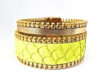 Bracelet cuir de poisson Tilapia jaune ,veau doré biais à glissière doré