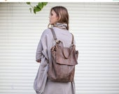 Sale, Shoulder Backpack Bag, Brown Leather Backpack Purse, Student Bag, Handmade Tote Bag