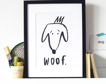 Dog 'woof' black and white print - perfect for a nursery or child's bedroom