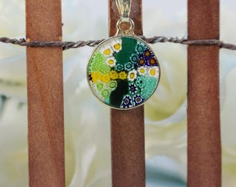 14mm Murano Millefiori Lampwork Glass Pendant 24K Gold Plated Sterling Silver Green G3