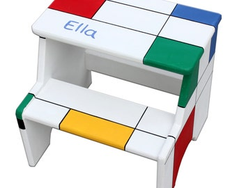 Personalized Step Stool, Chair Step Stool for Kids, Step Stool for Children, Toddler Step Stool, Mondrian stool, toddler foot stool