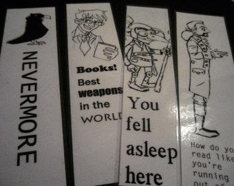 Bookmarks - laminated - Nevermore - Poe / Hamilton / Doctor Who / Goblin