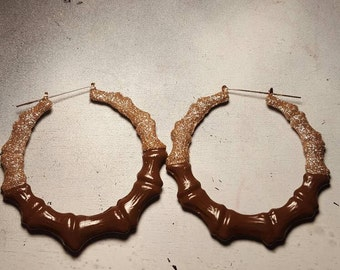 Mocha Latte Bamboo Hoop Earrings