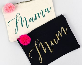 Mum / Mama  - Gold or Mermaid Green Glitter Personalised Pouch with Pom Pom detail - Mother's Day / Mothering Sunday