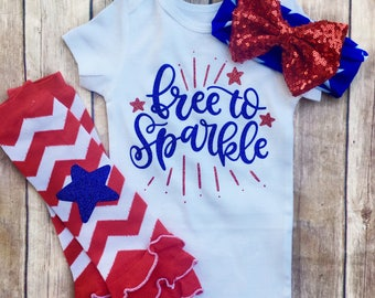 Free to Sparkle, Baby Girls Fourth of July Outfit, 4th of July Headband, My first fourth of July, Girls Fourth of July shirt