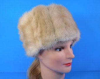 Vintage Blonde Mink Fur Hat Honey Blonde Golden Blonde Light Brown Ivory Off White Beige Genuine Mink Fur Pillbox Cloche Winter Fur Hat