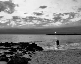 Fishing at Sunset Fine Art Photograph Print Cape May NJ Photo, Beach, Shore, Decor, Fisherman Gift Art, New Jersey Sunset, black and white