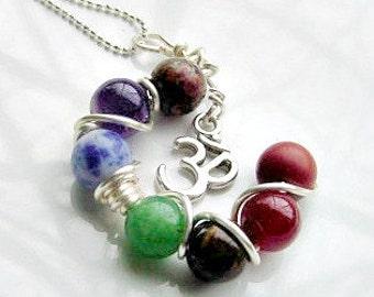 7 Chakra OM Charm Pendant -  Gemstones, Balance, Harmonize Energy Centers,Reiki Jewelry, Valentines Day Gift Idea