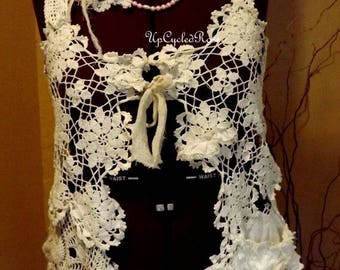 Vested in Shabby Couture  Up-cycled Vintage Crochet Free Shipping in USA
