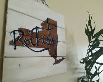 Rochester State Sign - Wooden State Sign - New York State - Personalized Pallet Art - White Washed State Sign - Rochester NY - Handlettered