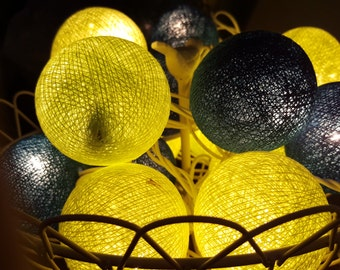 Get 2 of Teal VS Lime green Cotton Ball Lights for home decoration,wedding patio,indoor string lights,bedroom fairy lights,20 Bulbs