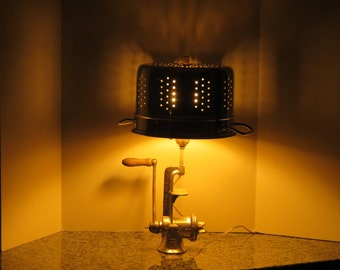 Salvaged Reclaimed Recycled Repurposed Meat Grinder and Colander Lamp