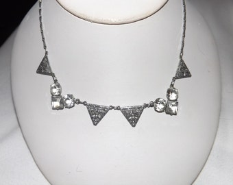 "1930s Art Deco Crystal Filigree 15"" Necklace-On Sale Now!"