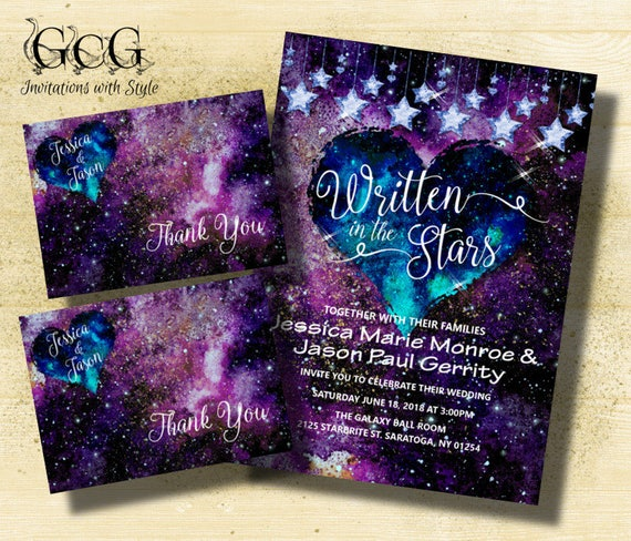 Galaxy wedding invitation suite Galaxy themed wedding ...