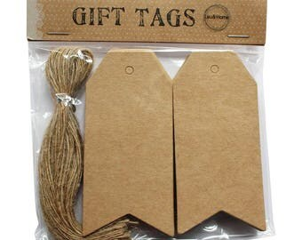 Brown Tag Price Hang Label / Gift Card with Jute Strings