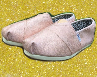 Rose Gold Toms. FREE PERSONALIZATION. [Rose Gold Shoes] Rose Gold Glitter Toms. Can be made into Rose Gold Vans or Rose Gold Converse.