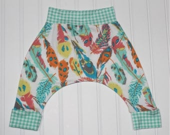 Gypsy Feathers Harem Pants, Sky Feathers and Mint Gingham, Baby and Kids Harem Pant Leggings