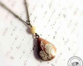 Teardrop locket necklace ivory and brown with flowers vintage keepsake with Custom Initial nature gift for her
