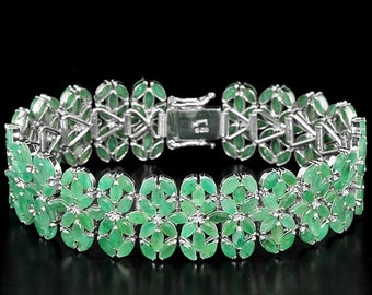 26.22ctw Natural AAA Green Emerald Marquise Sterling Silver Bracelet Size 7.25
