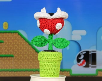 Mario Plant Plush, Mario Piranha Plant, Plant Amigurumi, Crochet Mario Plant, Super Mario, Desk Decor, Photo Holder, Nerd Gift, Geek Gift