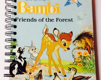 SALE!! Disney Bambi Repurposed Little Golden Book Cover Notebook or Journal