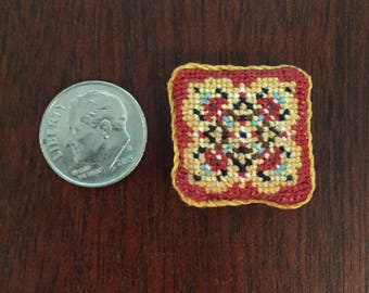 Miniature Cross Stitch Dollhouse Pillow