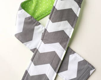 Padded Camera Strap Cover Neck Strap- REVERSIBLE- Padded- DSLR Gray Green Chevron Polka Dots Photographer Thank You Gift, Photography