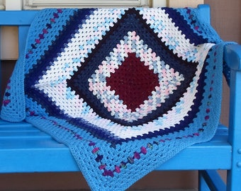 Handmade Baby Blanket/Wheelchair Afghan Crocheted Burgundy & Blue Granny Square