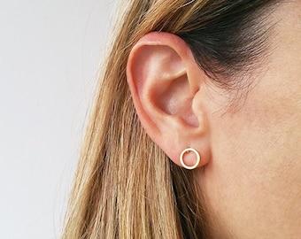 Circle gold earrings, Tiny stud earrings, Post earrings, Round earrings, Simple gold earrings, Geometric earrings, Gifts for girlfriend