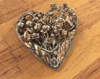 1940s Sterling Hobe Floral Heart Brooch