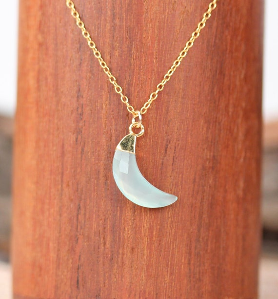 Crescent moon necklace - gold moon necklace - chalcedony necklace - half moon necklace - moon vibes