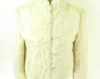 Vintage 90s Rabbit Fur Jacket Womens Large Deadstock White Soft [H48Q_2-5_Puffy]