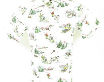 Vintage 90s Reyn Spooner Hawaiian Shirt M Christmas New England Snow 1991 [H03O_0-9]