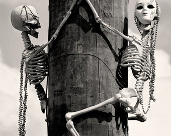 New Orleans Black and White Photography, Mardi Gras Skeletons, Black & White Louisiana Picture, Halloween Art - Limited Edition Photo Print