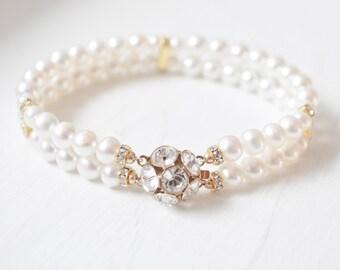 Gold Pearl Wedding Bracelet, Freshwater Pearl Cuff Bracelet, Wedding Jewelry Gold