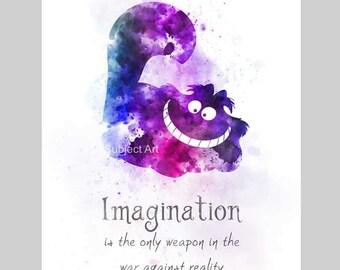Cheshire Cat inspired Quote ART PRINT illustration, Alice in Wonderland, Wall Art, Home Decor, Nursery