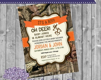 Oh Deer Baby Shower Invitation   Little Buck Baby Shower   Camo Baby Shower    Deer