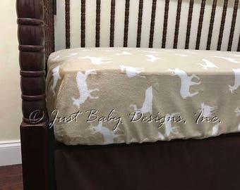 Fitted Crib Sheet - Khaki Deer Silhouette Minky