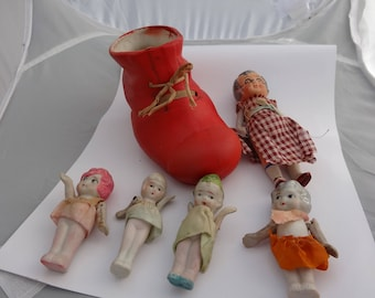 Very rare bisque porcelain old woman in the shoe with children