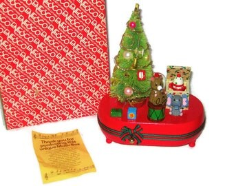 Christmas Enesco Animated Wooden Music Box Bottle Brush Tree Mercury Beads Jack in the Box Rotating Vintage We Wish You a Merry 1983 w/box