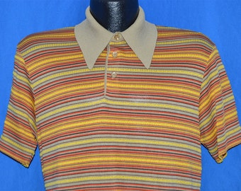 70s Pierre La Grande Yellow Tan Red Striped Polo Shirt Medium